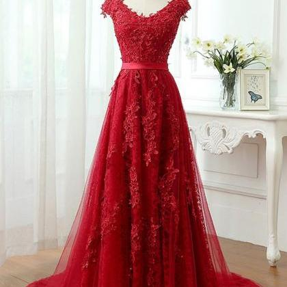 Charming Red Tulle Applique Lace Pr..