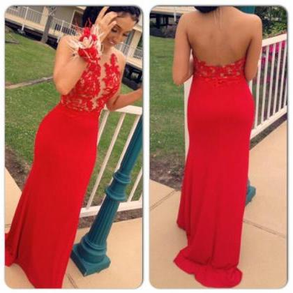 2016 Red Backless Halter Neckline P..
