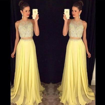2016 Two Pieces Yellow Prom Dress E..