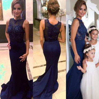 2016 Navy Prom Dresses Mermaid Part..