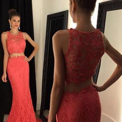 2016 Two Piece Mermaid Lace Prom Go..