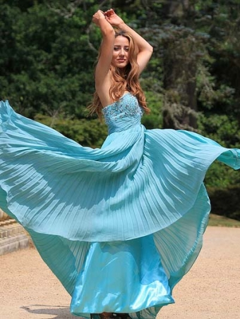 Elegant A-line Beading Floor-Length Prom Dress, Graduation Dress, Formal Dress
