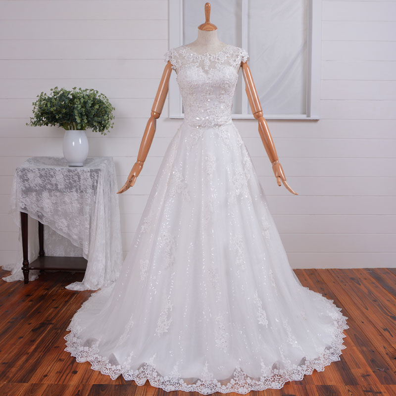 Vintage White/Ivory Cap Sleeve Sweep Train Wedding Dress Handmade Appliqued Tulle A-line Bridal Gown
