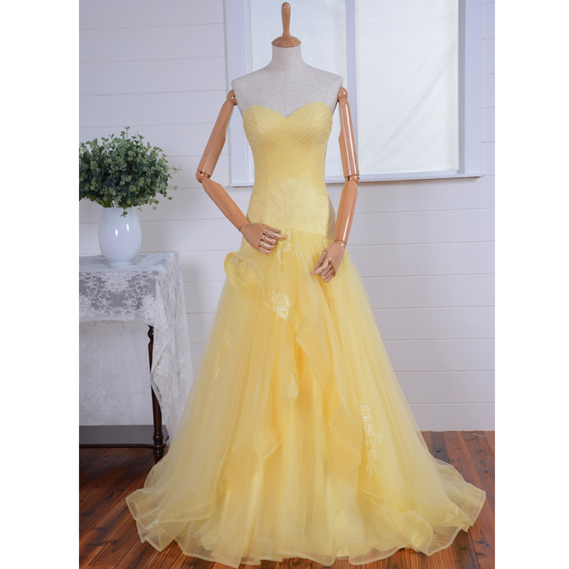 Sweetheart long prom dress,Yellow long prom dress,handmade Applique Lace formal women dress,wedding party dresses,lace up back long prom