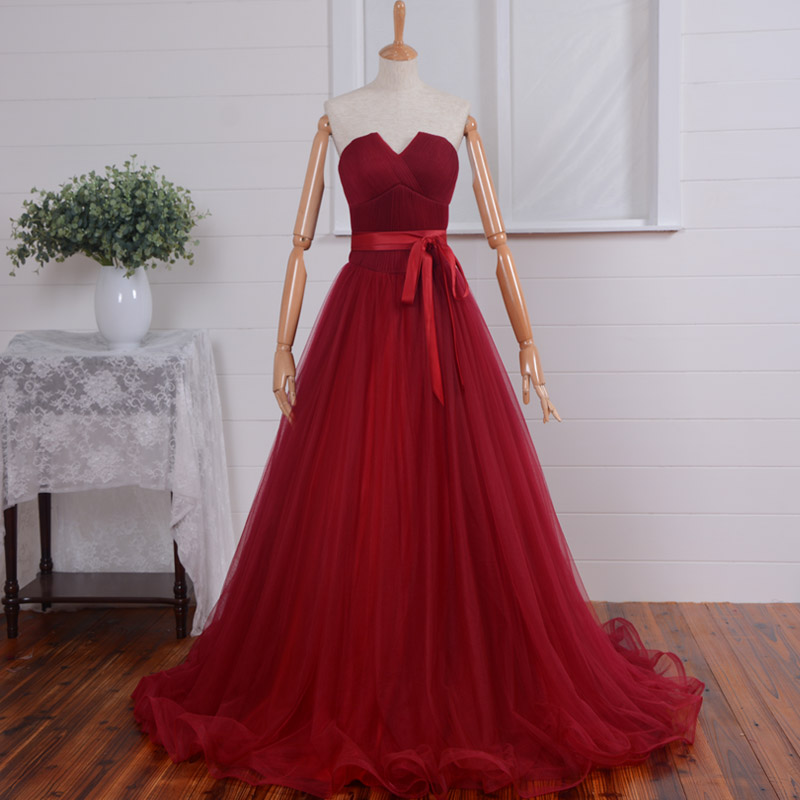 Long Bridesmaid Dress, Ball Gown Wedding Party Dresses, Strapless/V-neck/ Burgundy Tulle Prom Dresses, Formal Gown