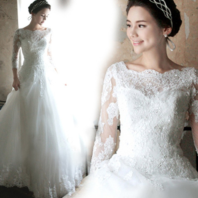a8c4309508227 2016 White Tulle Boat Neck Appliques Sequined Floor Length A Line Bridal  Gown Wedding Dress Three Quarter Sleeves Bridal Dresses