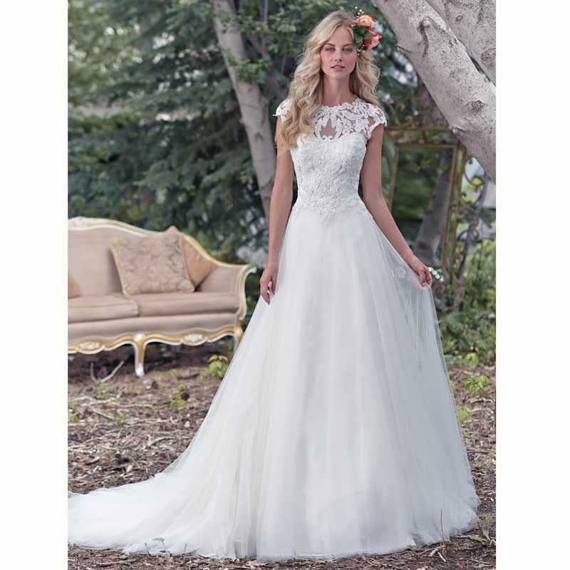 Elegant Lace Sleeve Short Wedding Dresses 2016 Scoop Neck: Simple Elegant Tulle A Line Scoop Neck Cap Sleeves Lace