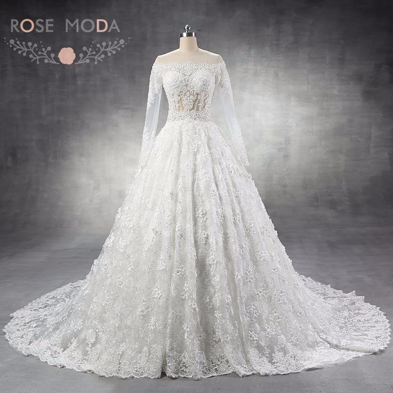 5d7956f860 Luxury Long Sleeves Lace Wedding Dress Arabic Heavily Pearl Beaded Ball Gown  with 3D Flowers Cathedral Royal Train
