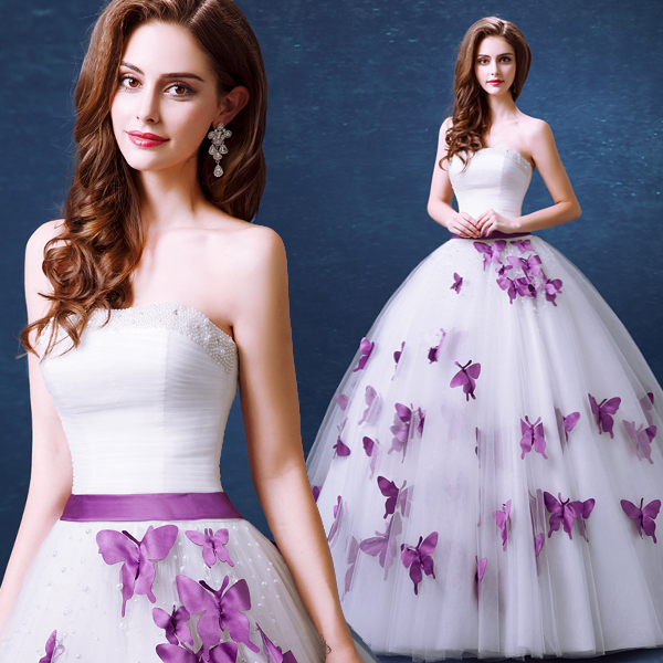 Strapless Sleeveless Pearl Purple Butterfly Sweet Princess Bride Wedding  Dresses 2015 Winter New Delicate Elegant Wedding