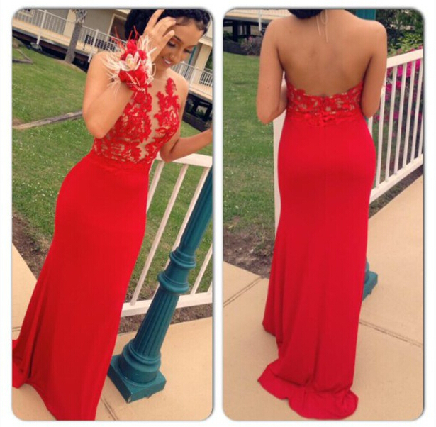 2016 Red Backless Halter Neckline Prom Dress with Lace Applique, Red Prom Dress, Prom Dresses, Evening Dresses