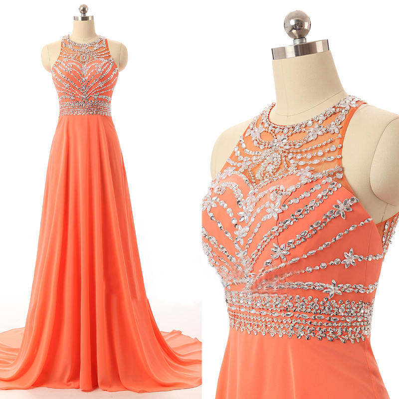 2016 Prom Dresses Long for Teens Orange Chiffon Beads Bodice