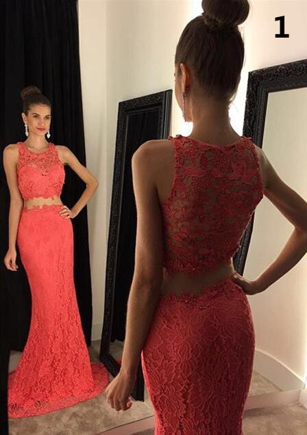 2016 Two Piece Mermaid Lace Prom Gowns Illusion Neckline