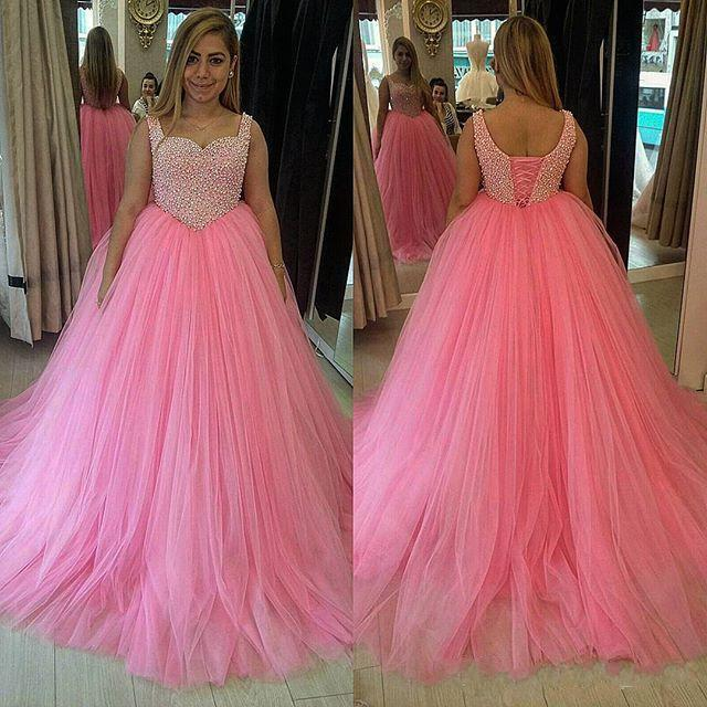 2016 Pink Ball Gown Prom Dresses Tulle Skirt Fully Beaded Bodice on ...