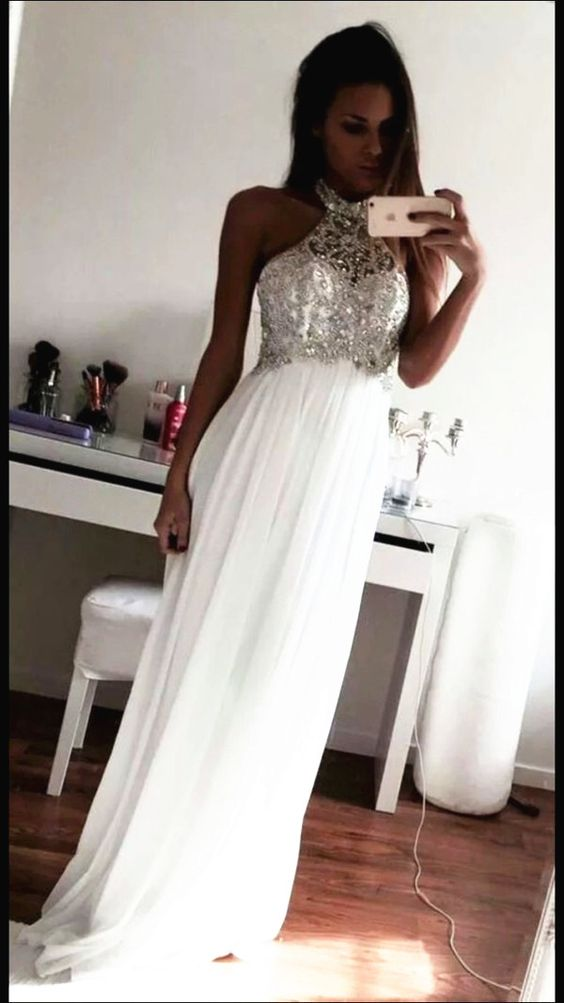 2016 New Arrival White Prom Dress,Chiffon Prom Dresses,Halter Prom ...