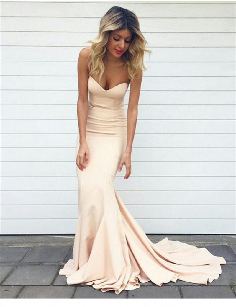 5e503b66e5 DoDodress-Strapless Mermaid Prom Dresses With Sweep Train