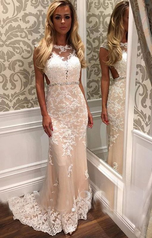 Dododress Floor Length Mermaid Style Champagne Prom Dress Lace Liques Bateau Neckline Evening 2017