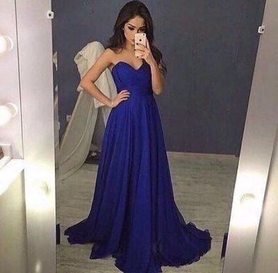 DoDodress-Sweetheart royal blue chiffon prom dress,2016 evening dress,Evening Dress-2017