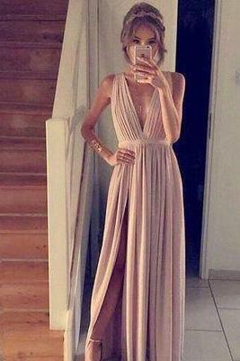 Charming Prom Dress,Sleevelss Long Prom Gown,Sexy Prom Dresses,Long Split Side Evening Dress