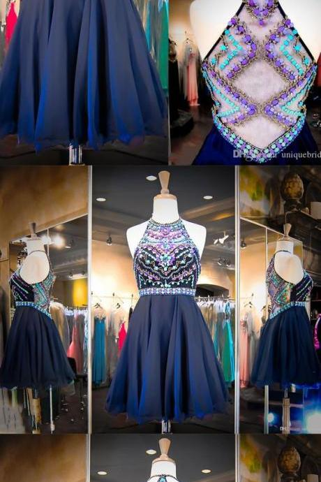 Charming Homecoming Dress,Luxury Crystal Prom Dress,Short Halter Prom Party Dress