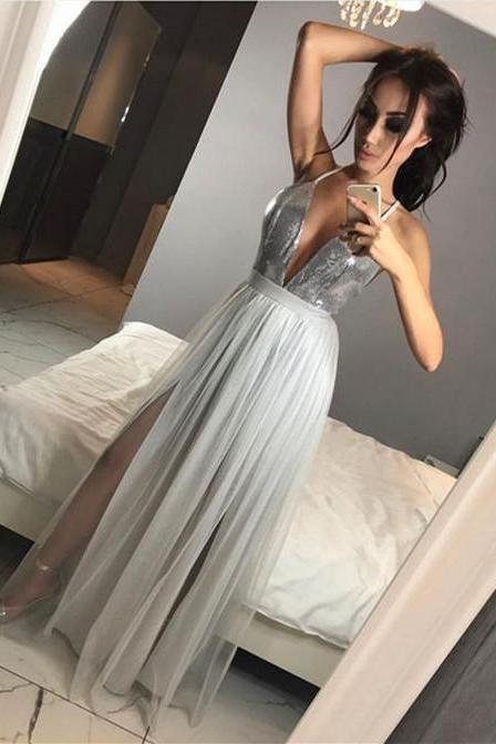 Silver Grey Sequins Sexy Illusion Deep V Neck Tulle Prom Dress, Long A Line Prom Dresses, Women Formal Party Gowns, Backless Evening Dresses