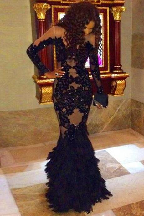 Black Prom Dresses,2018 Prom Dress,Lace Prom Dress,Mermaid Prom Dresses,2018 Formal Gown,Mermaid Evening Gowns,Unique Party Dress,Lace Prom Gown,Long Sleeves Evening Gowns
