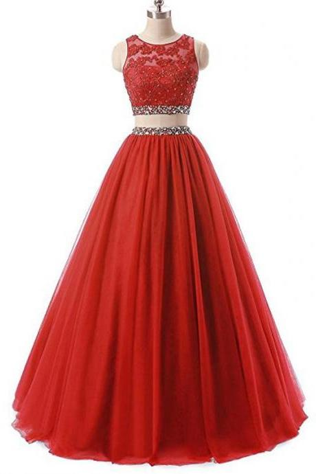 Red Two Pieces Rhinestone Tulle A-line Long Evening Prom Dresses