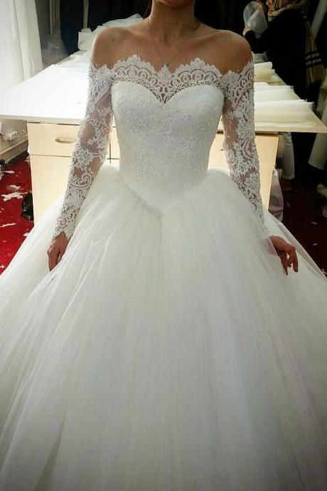 lace long sleeves tulle ball gowns wedding dresses off the shoulder Wedding Bridal Gowns,Ball Gown Prom Dress