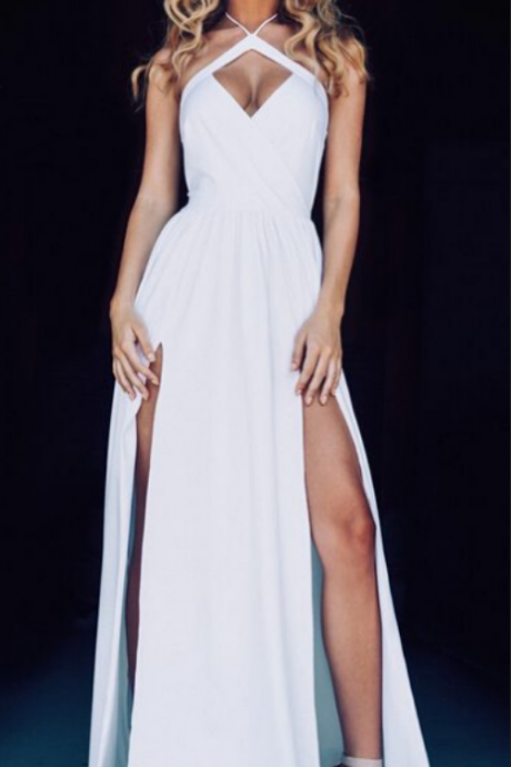 Lovely Prom Gown Sexy White Prom Dresses Long Chiffon Slit Spaghetti Straps white Party Dress