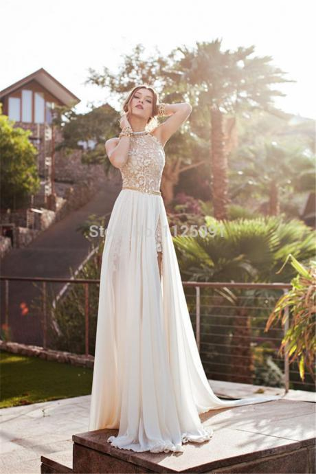 Bridesmaid 2018 New Arrival Sexy White Chiffon Beaded Appliques Lace Prom Dresses Long Halter Side Slit Spring Evening Party Gown