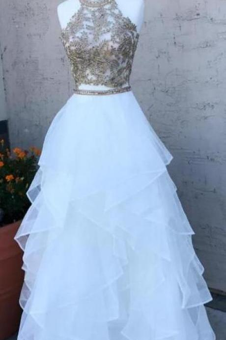 White tulle floor length prom dress , ball gown with appliques