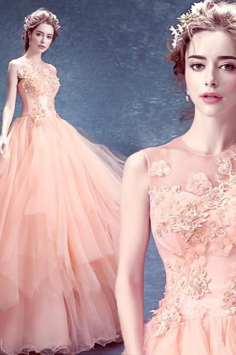 2016 Top Online Tulle Sleeveless Floor Length Ball Gown Wedding Dresses Appliques Crystals Pearls In Stock Wedding Gowns