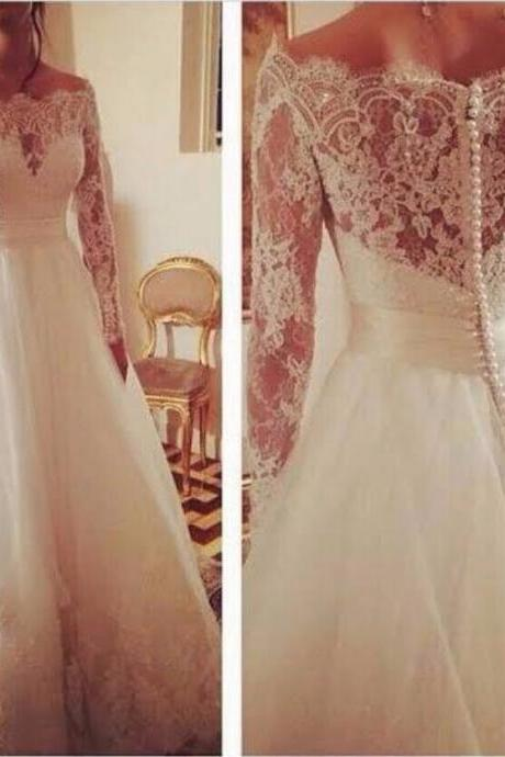 Vestido de noiva New Boat Neck Long Sleeves Chapel Train A-Line Lace Tulle Ribbon Romantic Long Wedding Dress 2016
