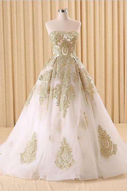 gold lace wedding dress A-line robe de mariee vintage wedding dresses Bridal wedding gown vestido de noiva robe de mariage