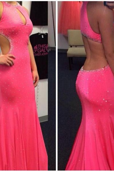 2016 Pink Prom Dress, Backless Prom Dress, Sexy Prom Dress, Chiffon Prom Dress, Inexpensive Prom Dress, Pretty Prom Dress