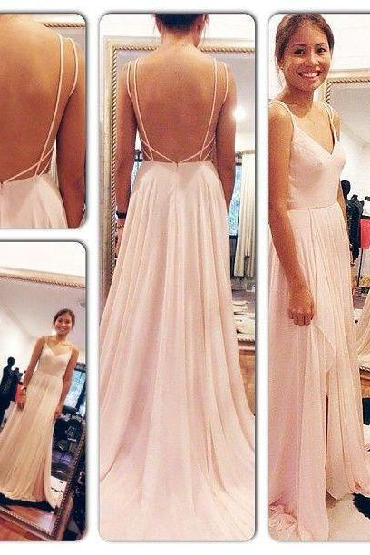 Spaghetti Straps V Neck Pink Backless Prom Dress,Sexy Long Evening Dresses,Chiffon Floor Length Women Gown 2016
