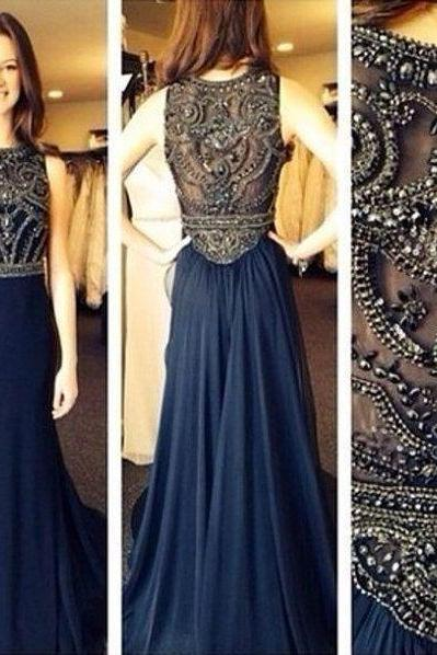 2016 long prom dress, navy prom dress, chiffon prom dress, beading prom dress, prom dress 2016, long evening dress