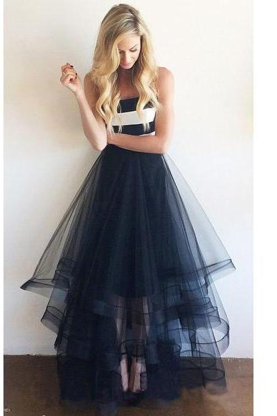 2016 navy prom dress, long prom dress, tulle prom dress, cheap prom dress, prom dress 2015, affordable prom dress, party evening dress