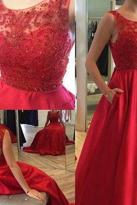 2016 Charming Prom Dress,Beading Prom Dress,Red Prom Dress,Backless Prom Dresses