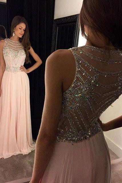 2016 Charming Prom Dress,Chiffon Prom Dress,O-Neck Prom Dress,Beading Prom Dress,A-Line Prom Dress