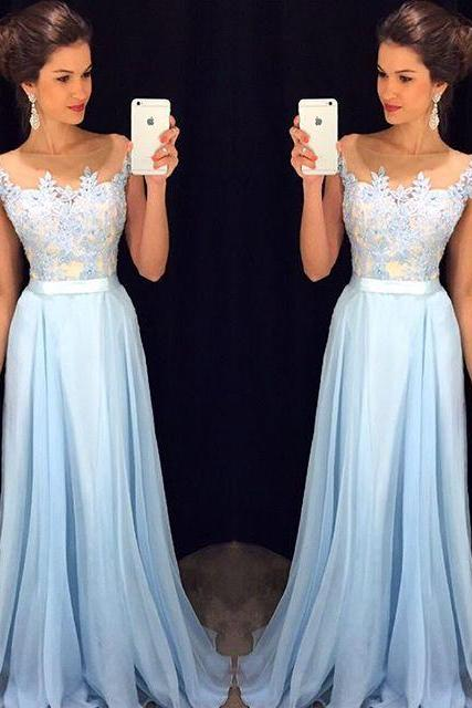 2016 High Quality Prom Dress,chiffon prom dress,A-Line Prom Dress,Charming Prom Dress,Appliques Prom Dress