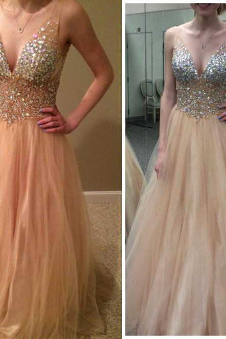 2016 Charming Prom Dress,V-Neck Prom Dress,A-Line Prom Dress,Sequined Prom Dress,Tulle Prom Dress