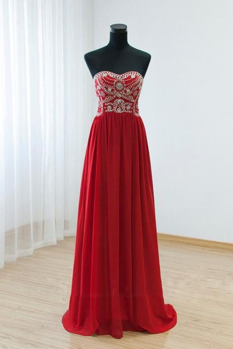 2016 Red Chiffon Beaded Strapless Floor Length Prom Dress