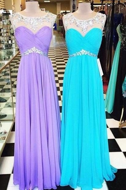 2016 Chiffon illusion Pleated Bodice Prom Dress With Crystals