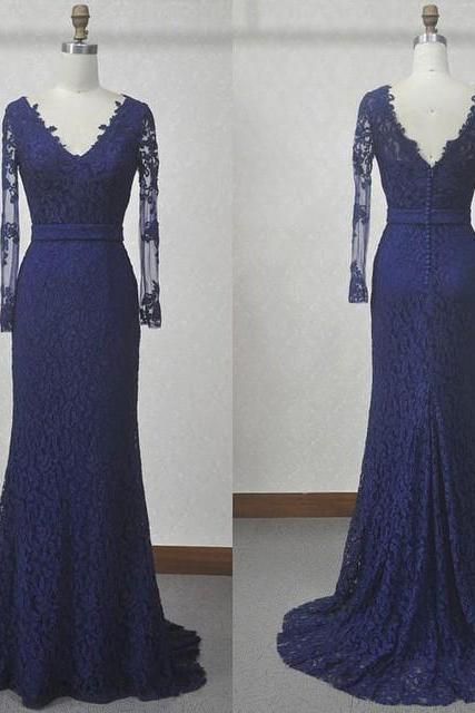 2016 Designer Navy Blue Lace Long Sleeves Mermaid Evening Gown With V Back