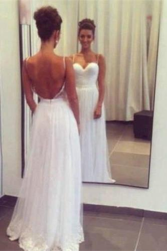 2016 White Chiffon Spaghetti Straps Sweetheart Backless Prom Dresses 2016 Wedding Party Dresses