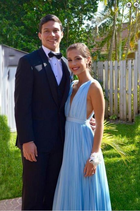 2016 Sexy Deep V Floor Length Sky Blue Ruched Prom Dresses