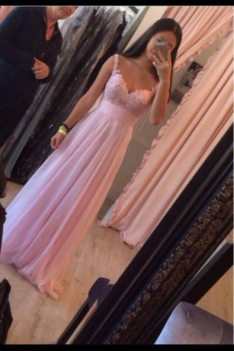 2016 Floor Length Spaghetti Lace Bodice Prom Dresses Ruched Waist Details