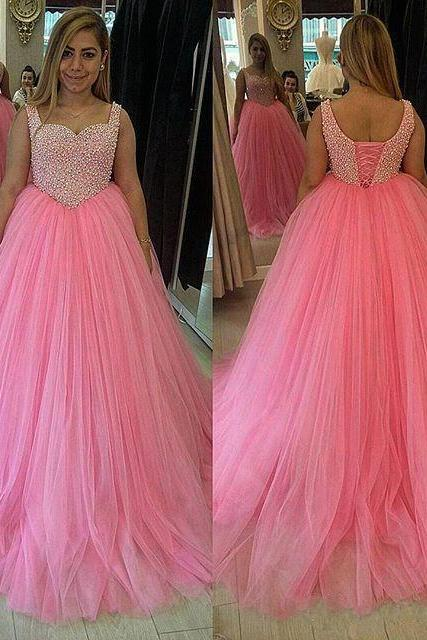 2016 Pink Ball Gown Prom Dresses Tulle Skirt Fully Beaded Bodice