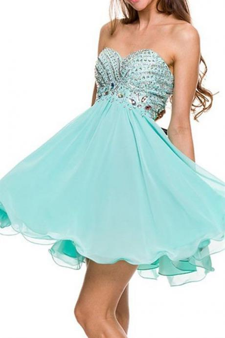 Mint Green Short Chiffon Homecoming Dress Featuring Beaded Sweetheart Bodice
