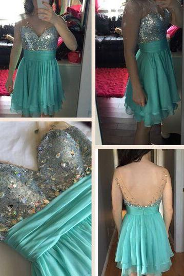 2016 Charming Prom Dress,Blue Prom Dress,Backless Prom Dress,Short Homecoming Dress,Tulle Homecoming Dresses
